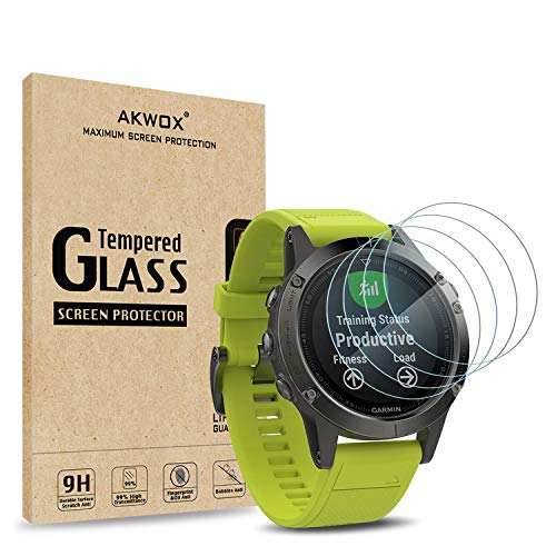 AKWOX [4 Unidades] Vidrio Templado Garmin Fenix 5