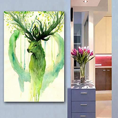 JNZART Leinwand malerei aquarell Tier gelb blau Hirsch Bilder für Wohnzimmer wohnkultur Poster drucke ölgemälde A 30x45CM