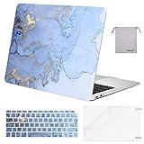 MOSISO Funda Dura Compatible con 2019 2018 MacBook Air 13 A1932 con Pantalla Retina, Plástico Carcasa Rígida & Cubierta de Teclado & Protector de Pantalla & Bolsa de Accesorios, Mármol Azul Agua
