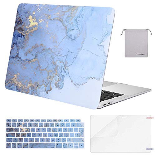 MOSISO MacBook Air 13 inch Case 2019/2018 Release A1932 with Retina Display, Plastic Hard Shell & Keyboard Cover & Screen Protector & Storage Bag Compatible with MacBook Air 13, Water Blue Marble