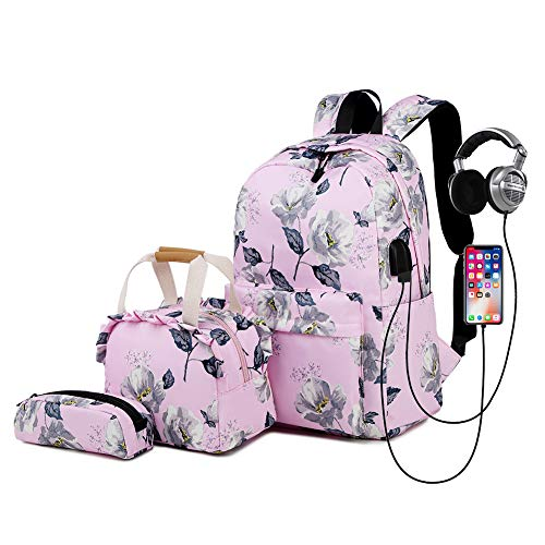 FVAL Mochila Escolar Impermeable Raya Moderna para Chicas-Mochila Informal para Mochila Escolar de Oficina Universitaria - Backpack Canvas Casual + Bolsa del Almuerzo + Monedero Grande 3pcs - Polvo