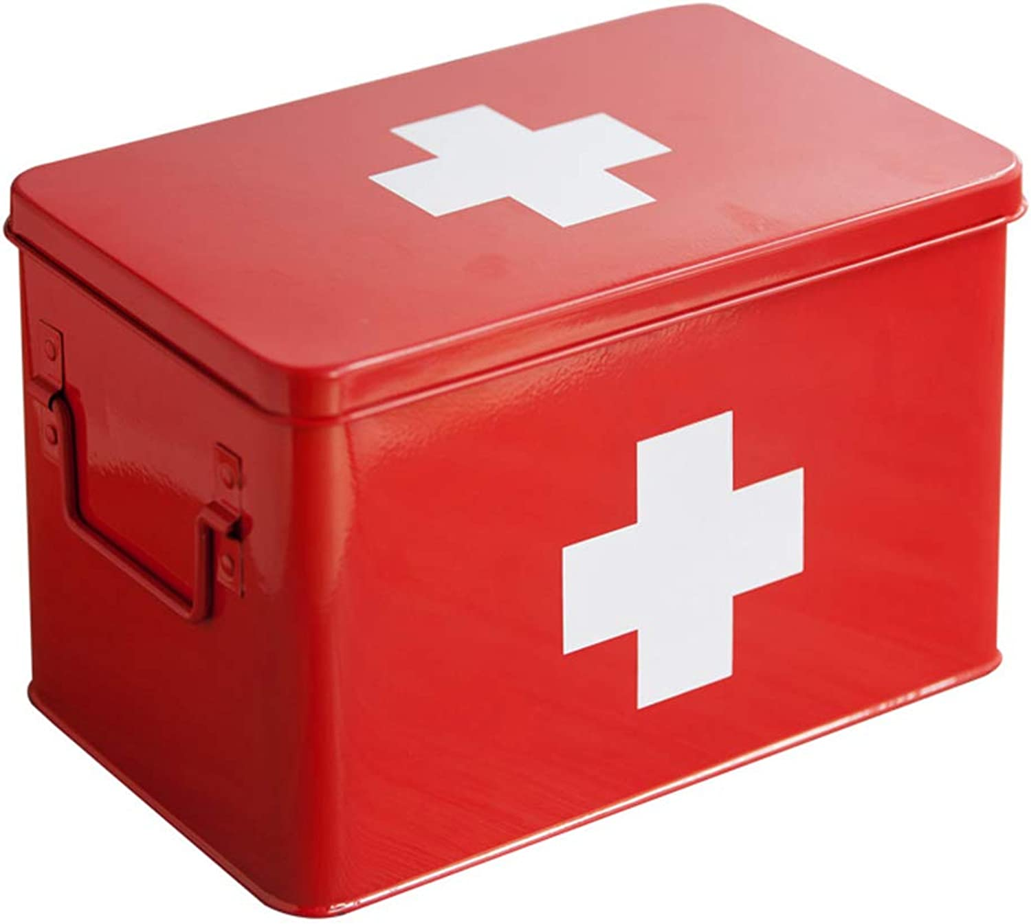 Red with White Cross Metal Medicine Storage Box, Large