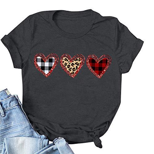 Janly Clearance Sale Camisa de manga corta para mujer, diseño de San Valentín, con cuello redondo, blusa suelta, blusa de color liso, para Pascua, San Patricio Ofertas (gris-3XL)