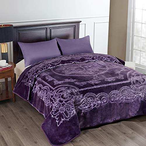 JML Fleece Blanket King Size, Heavy Korean Mink Blanket 85 X 95 Inches- 9 Lbs, Single Ply, Soft and Warm, Thick Raschel Printed Mink Blanket for Autumn,Winter,Bed,Home,Gifts,Purple