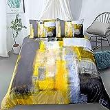 Fundas Nordicas Cama 105 200x200 Amarillo Ropa de Cama de Microfibra con Cierre de Cremallera de fácil Cuidado + 2 Funda de Almohada 50x75