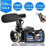 Video Camera Vlogging Camera with MicrophoneFull HD 1080p 30fps 24.0MP Video Camcorder for YouTube...