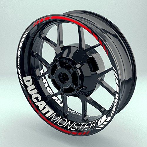 OneWheel Felgenaufkleber Set Ducati Monster für Motorrad | 17 Zoll | Felgenrandaufkleber & Felgenbettaufkleber | Vorder- & Hinterreifen Komplett-Set (Einfach - matt)