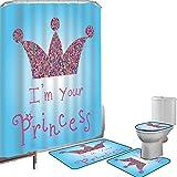 Juego de cortinas baño Accesorios baño alfombras Soy una princesa Alfombrilla baño Alfombra contorno Cubierta del inodoro Cita romántica Parejas enamoradas Colorido mosaico estilo corona tiara,azul ro