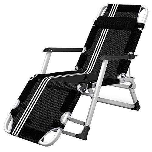 Lounger Tumbonas de relajación de Metal para jardín, Ajustables para Sala de Estar, balcón, tumbonas, tumbonas, sillón reclinable Plegable, Negro