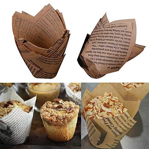 VWCDO Hot Paper Cake Decoratie gereedschap vorm tulp bloem chocolade cupcake wrappers bakken muffin paper liner wegwerp