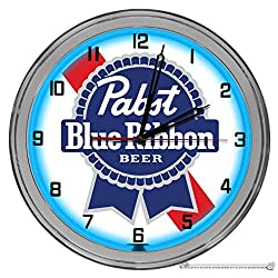 Decorative Concepts Pabst Blue Ribbon Beer 16 Light Up Blue Neon Clock