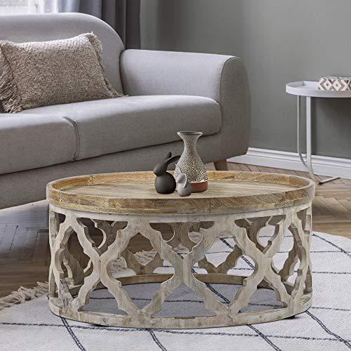 WOMO-DESIGN Orientalischer Couchtisch Madrid Ø75x35 cm rund, Natur/Weiß, Massivholz Mangoholz handgeschnitzt, Indische Design, Beistelltisch Sofatisch Wohnzimmertisch Loungetisch Tisch für Wohnzimmer