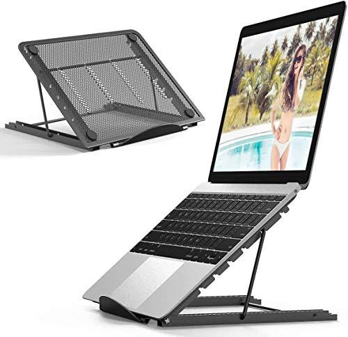 JEANMISS Soporte para Portátil Ajustable para Portátil Soporte Vertical De Malla Soporte Ergonómico para Portátil para Escritorio Compatible con Portátil iPad Tablet Macbook,Negro