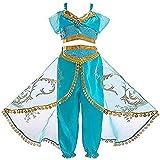 Aautoo Princess Jasmine Costume for Girls Princess Cosplay Halloween Party Dress Up Green