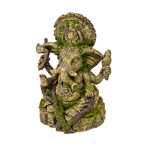 Rosewood 91694 Moosbedecktes Aquaristik-Ornament Ganesh-Statue aus Harz