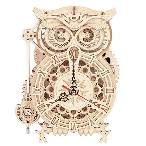 Rompecabezas de madera 3D, 161 piezas de kit de reloj de búho, corte láser de madera DIY modelo de rompecabezas kit de fabricación de relojes, regalo de decoración de escritorio de oficina en casa