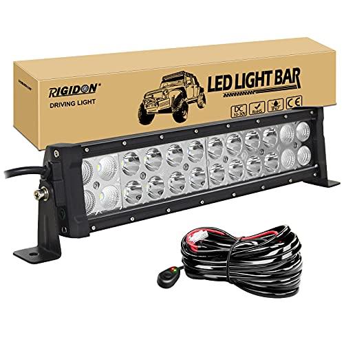 RIGIDON 12 Pulgadas 30 cm 72W barra de luz led y 12V kit de cableado, Barras luminosas led para off road camión coche ATV SUV 4x4 barco, lámpara de conducción 6000K, foco y luz inundacion comb