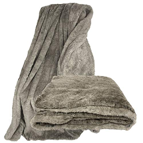JEMIDI Felloptik Kuscheldecke 1,8 kg Felloptik Decke Winterfell ca.150cm x 200cm Sofadecke Felldecke Überwurf Imitat Pelz Optik Grau