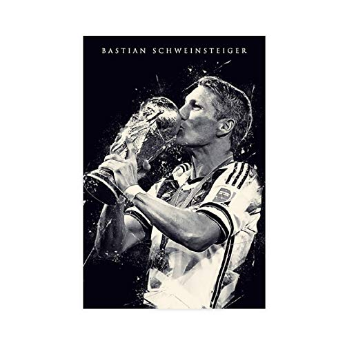 Fußball-Palyer-Poster Bastian Schweinsteiger Vintage Kunst Leinwand Poster Wandkunst Dekor Druck Bild Gemälde für Wohnzimmer Schlafzimmer Dekoration 60 x 90 cm ohne Rahmen