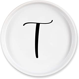 Lila Mae Initial Ring Dish Ceramic Ring Holder Dish, Personalized Key Tray Or Ring Tray for Your Mother Or Best Friend (T)