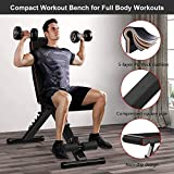 YOLEO Adjustable Weight Bench, 330lbs 7 Level Foldable Workout Bench Incline/Decline Utility Exercise Bench Ab Bench for Home Training Weight lifting Sit up (Brown)