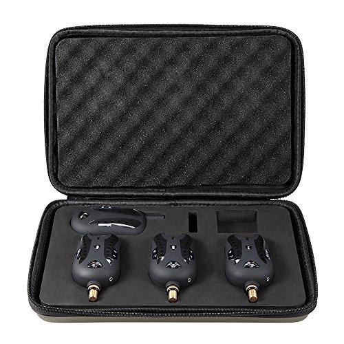 Lixada Pesca Mordedura Alarmas Set Inalámbrico Digital de Alarma de Pesca Juego Receptor de Alerta de Sonido Kit Indicador LED Alarma con la Caja Portable