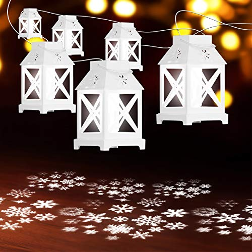 YUNLIGHTS Christmas Projector String Lights - 22.6FT 6PCS Lanterns in One String Lights for Indoor Outdoor Plug-in Christmas Snowflake Projection Lights for Christmas