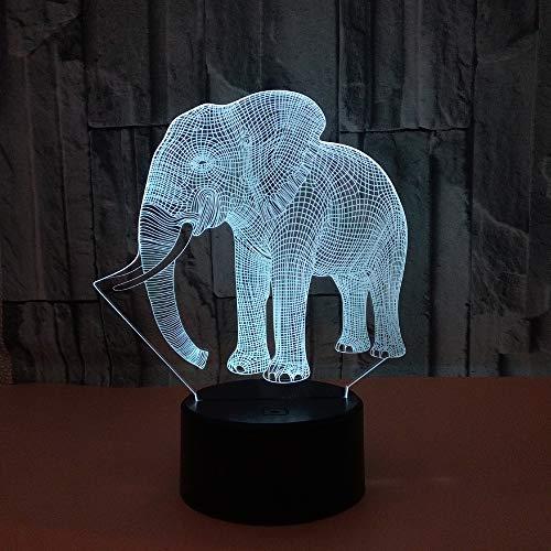 Kaper Go Elefante LED Colorido Gradiente 3D Estéreo Lámpara De Mesa Táctil Control Remoto USB Luz De Noche Escritorio Mesita De Noche Decoración Creativa Adornos De Regalo