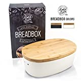 Dolce Mare Boîte à pain en bambou - Jolie boîte à pain - Caisse à pain très pratique - Panier à pain en bois - Boîte à pain - Pot à pain - Bread bin - Bonne idée de cadeau (blanc)