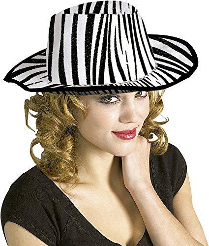 Rubies - Sombrero de cowboy cebra, para adultos, talla única, color blanco (S5286)