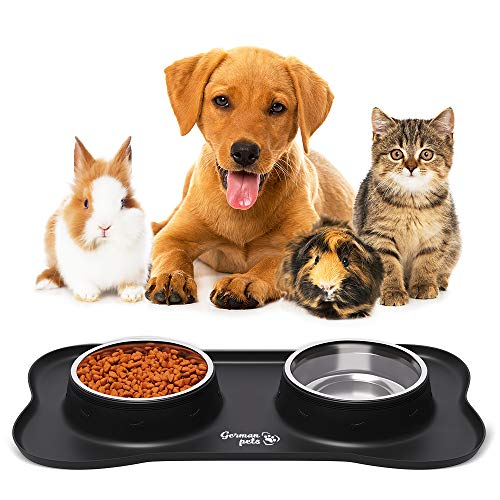 Double Cat Dog Bowls 400ml - Stainless Steel Water and Food...