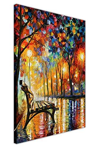 Ristampa su tela del dipinto a olio 'Solitudine autunnale' di Leonid Afremov, Tela, 02- A3 - 16' X 12' (40CM X 30CM)