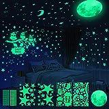 Yosemy Luminoso Pegatinas de Pared Luna Búho Estrellas Pegatinas de Pared para Niños Infantil Fluorescente Adhesivos Decoración para Dormitorio, 6 Piezas (651pcs)
