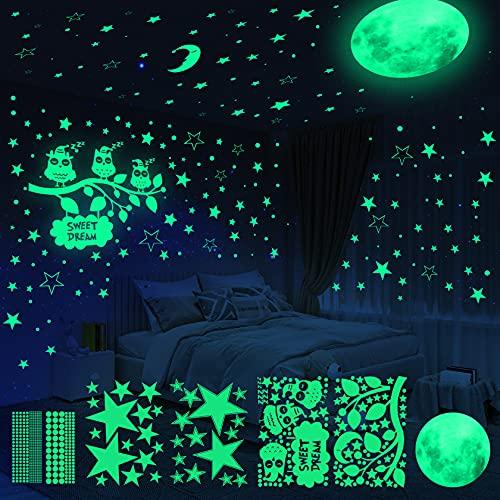 Yosemy Adesivi da Parete Fluorescenti 6 Pezzi Gufo Luna Stelle Luminose Decorazione Adesivo Camera...