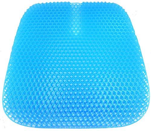 VAIYNWOM Gel Sitzkissen Orthopädisch, Waben Gel Sitzkissen Bionische Struktur Stuhlkissen Atmungsaktiv Sitzkissen für Home Office Auto, mit Rutschfester Stoffhülle, 47 * 42 * 3cm, Blau