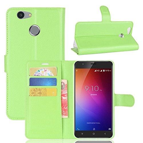 Owbb Hülle für Blackview E7 Ultra Schlanke Handyhülle Premium PU Ledertasche Flip Cover Wallet Case mit Stand Function Innenschlitzen Design Grün