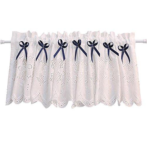Rideau romain Tulle blanc Blanc pur Brodé Gaze Rideau de café Cuisine Court rideau Semi-ombre Petit rideau pour Décoration d'intérieur Poche à tige , blue , 1pc(150x32 cm)