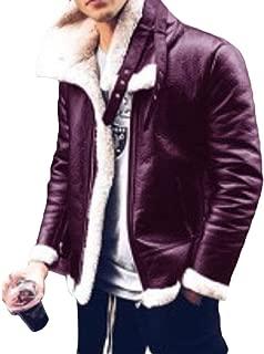 Mens Long Sleeve Winter Zip Up Jacket Top Warm Faux Fur Windproof Outwears