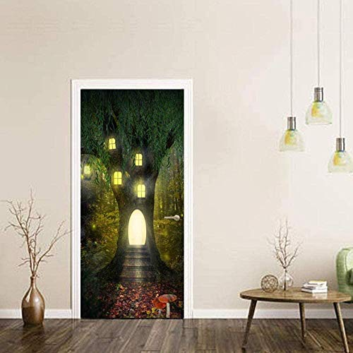 3D Door Stickers for Interior Doorsdoor Sticker Magic Tree House Three-Dimensional Sticker Door Sticker Removable Wall Sticker Bedroom Living Room Wallpaper-85Cm(W)*215Cm(H)