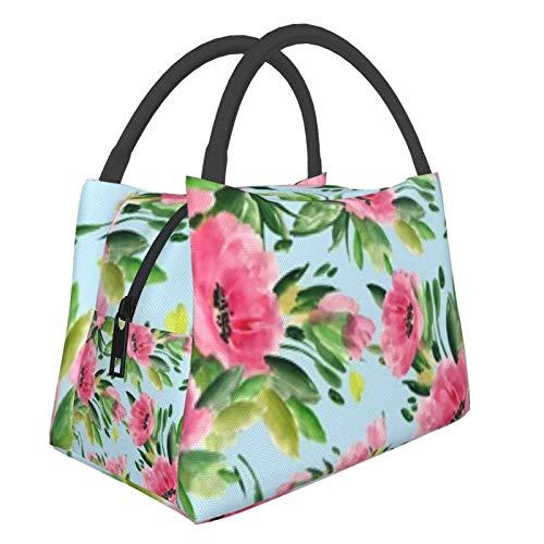Bolsa de almuerzo portátil con aislamiento fresco (Flores silvestres abstractas dibujadas a mano) 8.5L