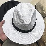 B/H Damen Sonnenhut Sommerhut Stoffhut,Sommer Strand Schwimmbad Panama Hut-weiß,Strohhut Damen Sonnenhut Atmungsaktiv Sommerhut