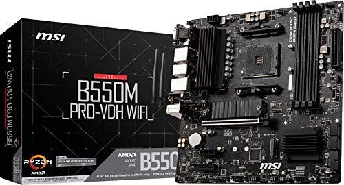 MSI B550M PRO-VDH WiFi ProSeries Motherboard (AMD AM4, DDR4, PCIe 4.0, SATA 6Gb s, M.2, USB 3.2 Gen 1, Wi-Fi, D-SUB HDMI DP, Micro-ATX)