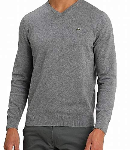 Lacoste Men's Long Sleeve V-Neck Sweater, Stone Chine/Navy Blue/flo, XX-Large