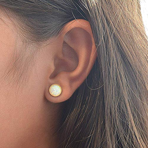 Wei? Opal Ohrringe Gold Ohrstecker 8mm F?r Frauen