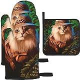 Manoplas y agarraderas para Horno, Safari Cat Kittens Animal Art Print Guante para Hornear y Soporte para ollas para cocinar BBQ, Juego de 3 Piezas, Safari Cat Kittens Animal Art Print