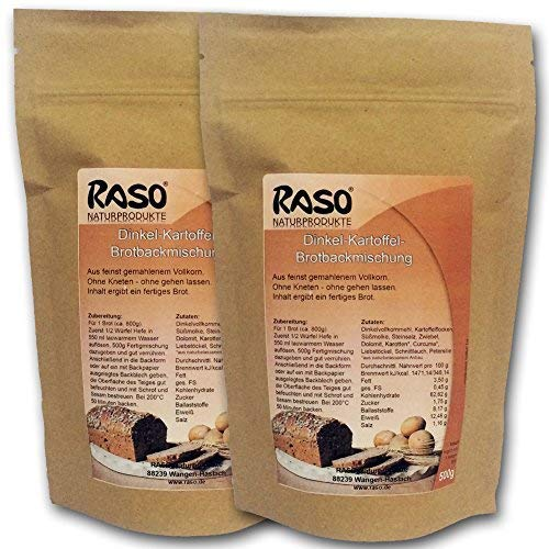 Brot - VERSANDKOSTENFREI - bewährte RASO Rezeptur Brotbackmischung Dinkel - Kartoffel + Curcuma...uvm - Ohne Kneten, ohne gehen lassen 2 x 500g