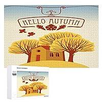 木々と陽気な家のある秋の風景木製パズル大人の贈り物子供の誕生日プレゼント(50x75cm)1000ピースのパズル