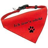 Hunde-Halsband mit Dreiecks-Tuch ICH WAR'S NICHT, längenverstellbar von 32 - 55 cm, aus Polyester, in rot