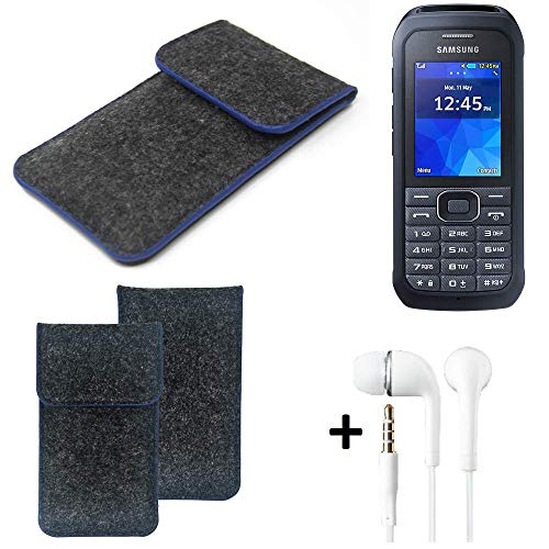 K-S-Trade Filz Schutz Hülle Für Samsung Xcover 550 Schutzhülle Filztasche Pouch Tasche Handyhülle Filzhülle Dunkelgrau, Blauer Rand Rand + Kopfhörer