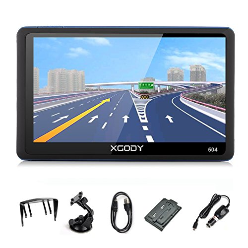 Xgody 5 Inch Portable Car Truck GPS 504 with Sun Shade Navigation Sat Nav Touch Screen Vehicle Navigator with Speed Limit Displays and Lifetime Map Updates